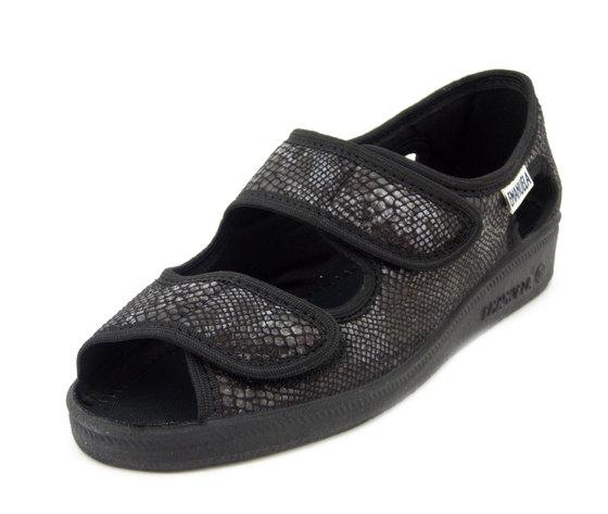 Emanuela, pantofola aperta in tessuto, doppio strap, zeppa, 667