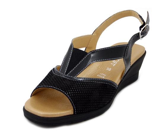 CINZIA SOFT, sandalo comfort in pelle lucida e camoscio nero, zeppa 5cm, 314