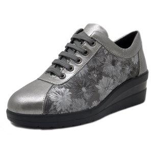 Sneaker Donna Comfort in Pelle Grigio e Argento, Zeppa 4 cm, Plantare ESTRAIBILE, Maquiavelo