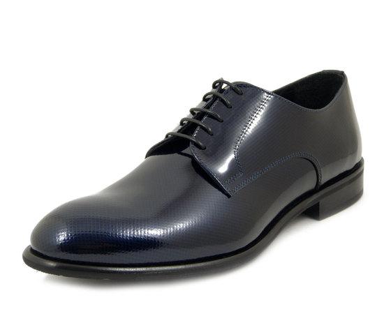 Scarpe Uomo Eleganti da Cerimonia in Pelle Lucida Blu Scuro modello Derby, Osvaldo Pericoli 1046