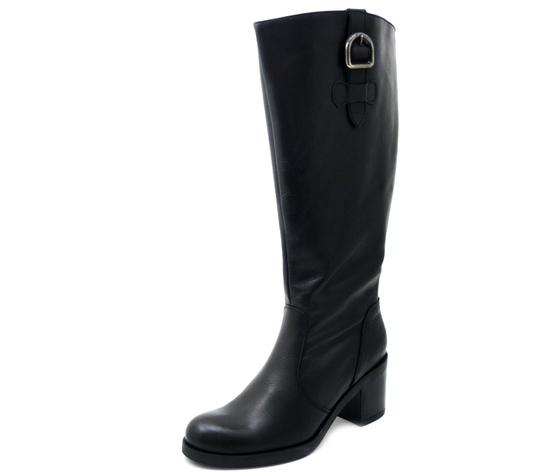 Stivali Donna in Pelle Nero, Modello XXL gamba calibrata, Tacco Medio 7 cm, 41515