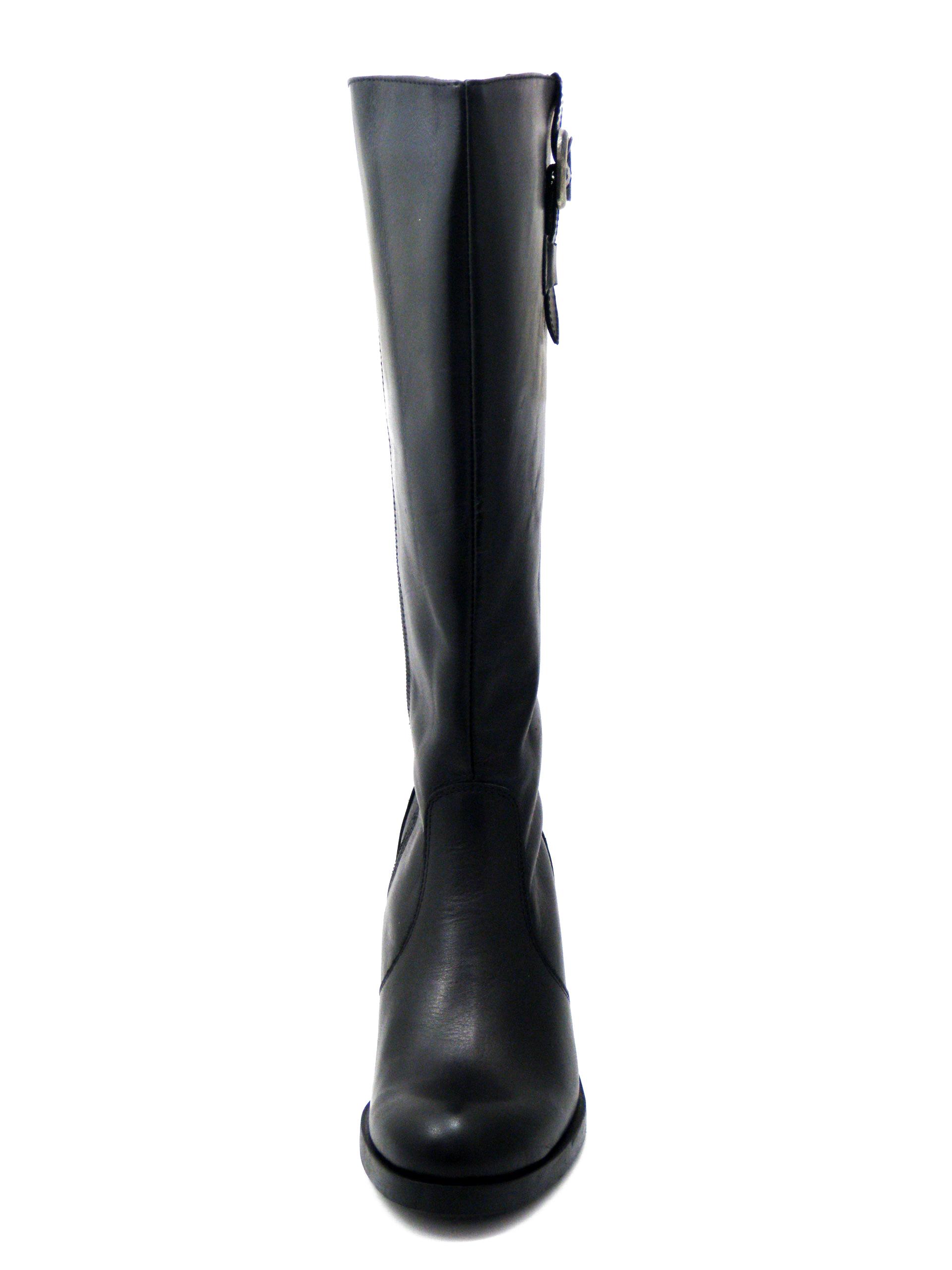 Stivali Donna in Pelle Nero, Modello XXL gamba calibrata