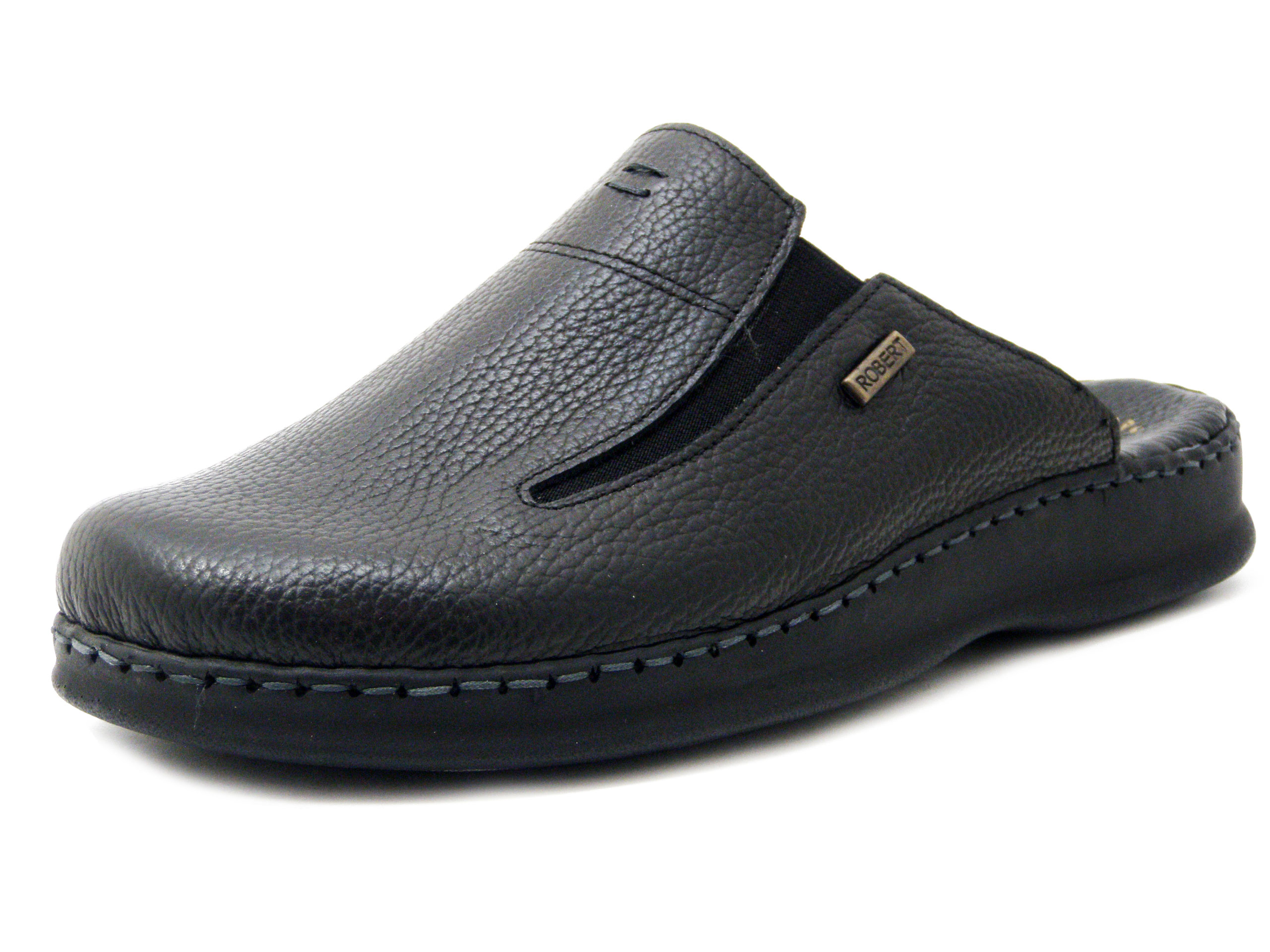 ottima qualità cerca le ultime ampia selezione di design Robert, Ciabatte Chiuse Pantofola Uomo in Pelle Nero, Sottopiede  Traspirante in Memory Foam, C85128