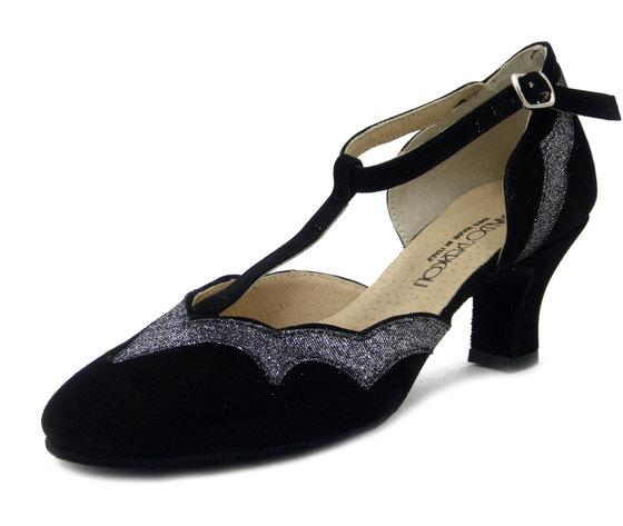 Osvaldo Pericoli, Scarpe Donna da ballo Charleston in Camoscio Nero e Tessuto Glitterato Argento, Tacco Medio Basso 5 cm, 315