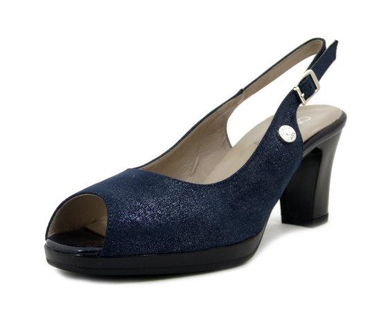 CINZIA SOFT, Sandalo Donna Comfort Elegante in Eco Camoscio Blu, Tacco Medio e Plateau, 322902