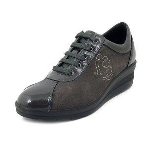 IMAC, Sneaker Donna Comfort in Pelle Lucida e Camoscio Grigio, Zeppa Medio Bassa, Plantare Estraibile, 406320