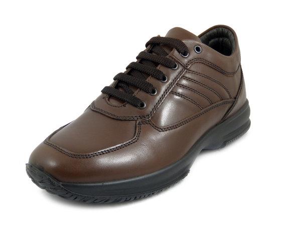 IMAC, Scarpe Uomo Casual Sneaker in Pelle Marrone Linea Comoda, Plantare Estraibile, 401800