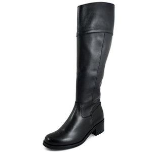 Osvaldo Pericoli, Stivali Donna al ginocchio Cavallerizzo in Pelle Nero, Tacco Basso, Made in Italy