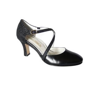 Osvaldo Pericoli, Scarpa da ballo/cerimonia in pelle e glitter nero, tacco 7cm.-820