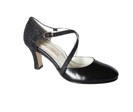 buy popular a7dc1 e0088 Scarpa Donna da Ballo/Cerimonia in Pelle e Glitter Nero, Tacco medio 7 cm,  820