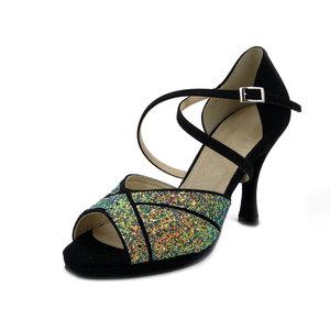 Osvaldo Pericoli, Scarpe Sandalo da Ballo Donna in Eco Camoscio Nero e Glitter Multicolore, Tacco Alto 9 cm e Plateau, Made in Italy