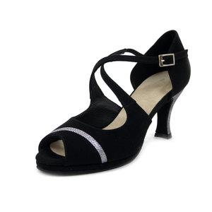 Osvaldo Pericoli, Scarpe da Ballo Donna in Eco Camoscio Nero e Glitter Argento, Tacco Medio 7 cm e Plateau, Made in Italy