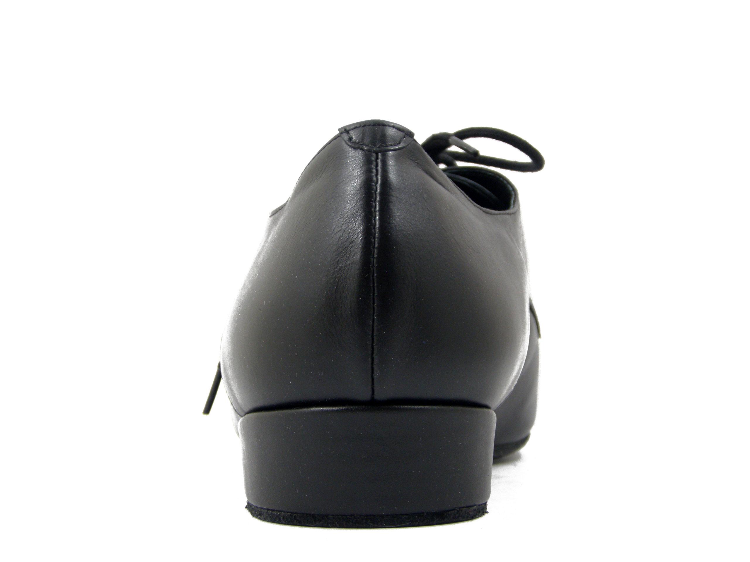 Scarpe Uomo da Ballo, modello Derby in morbida Pelle Nero, Suola in Cuoio Bufalo, Tacco 3 cm, Osvaldo Pericoli