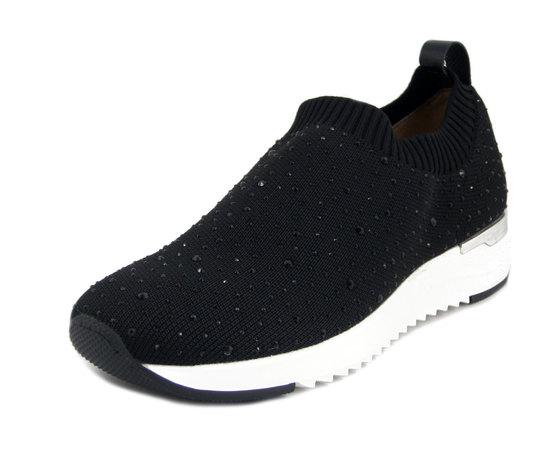 CAPRICE, Sneakers Donna Slipon in Tessuto Elasticizzato Nero con Strass, Plantare Estraibile, Zeppa Bassa