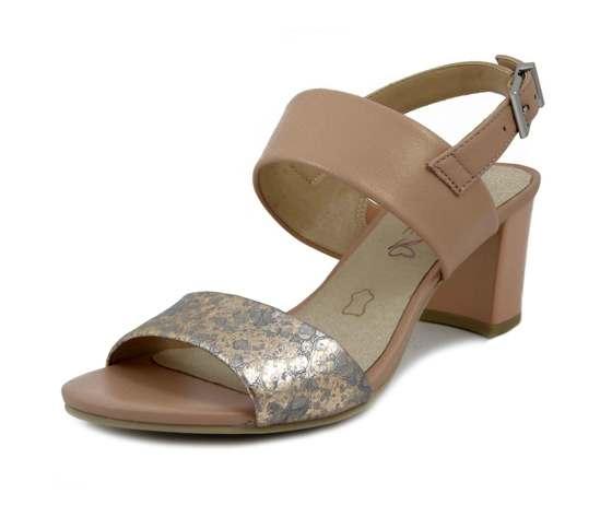 CAPRICE, Sandalo Donna in Pelle Rosa Cipria, Tacco Medio 6 cm, Pianta Comoda, 28302