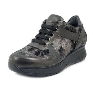 Florance, Sneaker Donna Linea Comoda in Pelle Grigio,  Plantare Estraibile,14206