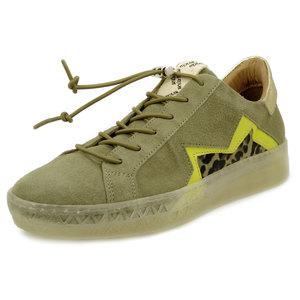MJUS, Sneakers Donna in Pelle Camoscio Kaki con riporto Animalier, Plantare Estraibile, 714135