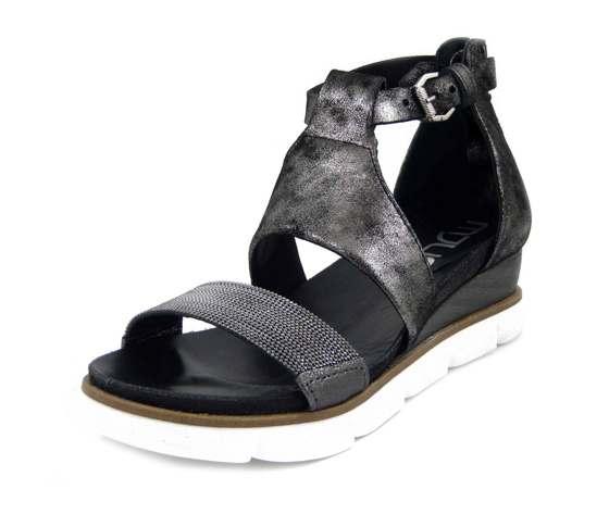 MJUS, Sandalo Donna in Pelle Nero laminato, Zeppa Media 5 cm, 866026