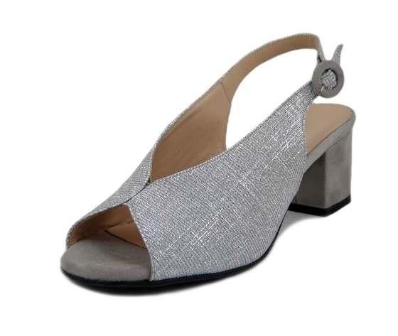OSVALDO PERICOLI, Sandalo Donna in Pelle e Tessuto Glitterato Argento, Tacco Medio 6 cm, Pianta Comoda