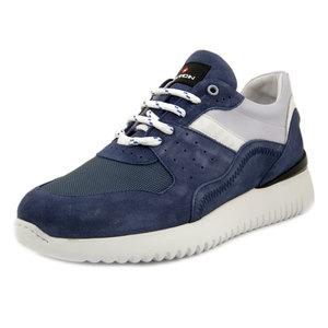 EXTON, Sneaker Uomo in Pelle Camoscio e Tessuto Blu Jeans, Plantare Estraibile, 265