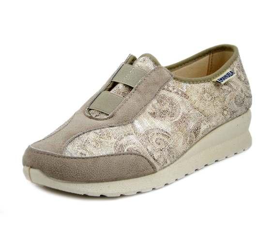 Emanuela, Sneaker Donna Comfort in Tessuto Beige, Sottopiede Estraibile, Suola Antiscivolo, 2867