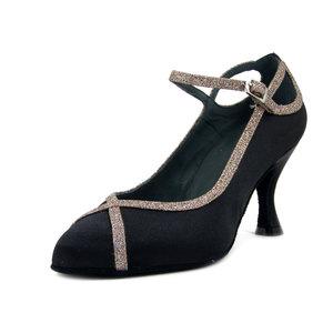 ROSSO LATINO, Scarpe da Ballo Decolletè Donna in Raso Nero e Glitter, Tacco Medio Alto 8 cm, Made in Italy