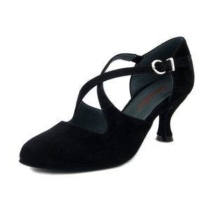 ROSSO LATINO, Scarpe da Ballo Donna in Pelle Camoscio Nero, Tacco Medio 6 cm, Pianta Comoda