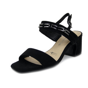 Tamaris, Sandalo Donna in Eco Camoscio Nero, Tacco Medio 6 cm, Pianta Comoda, 28338