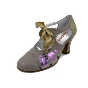 ROSSO LATINO, Scarpe da Ballo Charleston Donna in Pelle Beige e Glicine, Tacco Medio 6 cm, Pianta Comoda