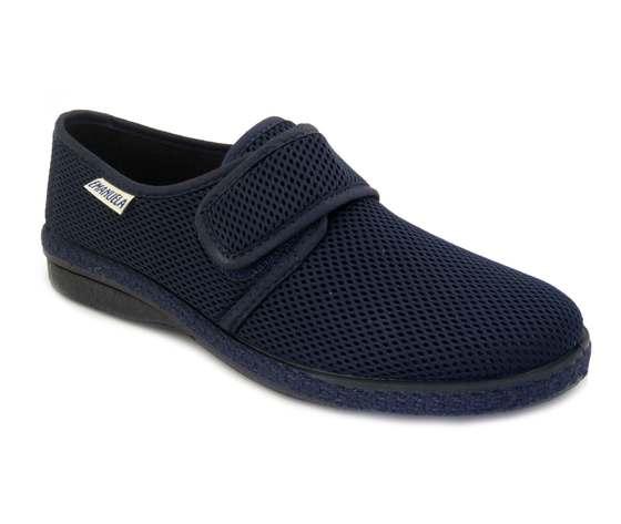 Emanuela, Pantofola/Scarpa Uomo estiva in morbido tessuto Blu, Fodera in cotone, 5254