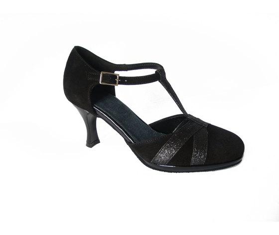 Scarpa da ballo Osvaldo Pericoli, charleston in camoscio e glitter colore nero, tacco 7cm. e suola cuoio bufalo