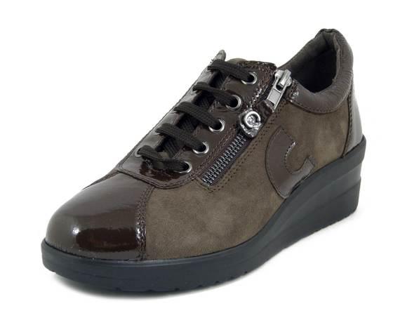 CINZIA SOFT,  Sneaker Donna Comfort con cerniera in Pelle e Camoscio Marrone, Zeppa Medio Bassa,  Sottopiede Estraibile, 11692