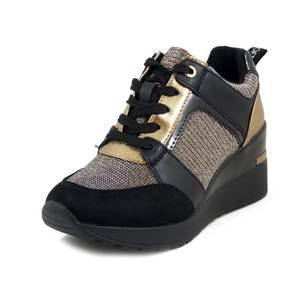 Cinzia Soft, Sneaker Donna in Eco pelle Nero Oro e Tessuto Glitter, Zeppa Media 5 cm, Plantare Estraibile, 616535