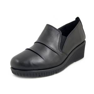 Cinzia Soft, Slipon Mocassini Donna Comfort in Pelle Nero, Zeppa Media, Pianta Comoda, 12173