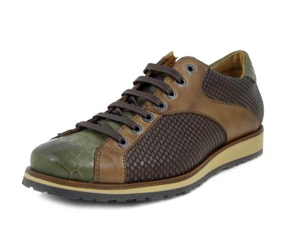 Romano Sicari, Scarpe Uomo Sneaker Casual in Pelle Multicolor Marrone Verde, Made in Italy