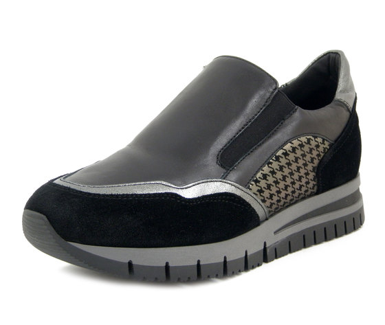 Osvaldo Pericoli, Sneakers Slipon Donna in Pelle Nero, Zeppa Bassa, Pianta Comoda, Plantare Estraibile, Made in Italy 21211