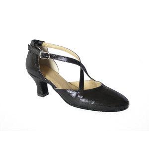 Scarpa da ballo Osvaldo Pericoli, charleston in camoscio satinato colore nero, tacco 5cm. e suola cuoio bufalo