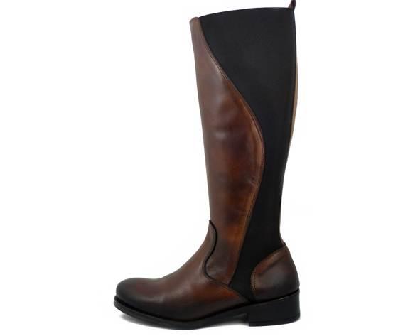 Stivali Donna al ginocchio in Pelle Marrone, Gambale Elasticizzato, Tacco Basso 3 cm, Made in Italy