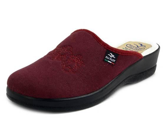 FlyFlot, Ciabatte Pantofole Donna Invernali in Eco Pelle Rosso Bordeaux, Fodera Lana, Zeppa Bassa Antiscivolo, 63Q53