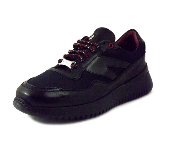 EXTON, Sneaker Uomo Casual in morbida Pelle e Tessuto Nero, Plantare Estraibile, 335