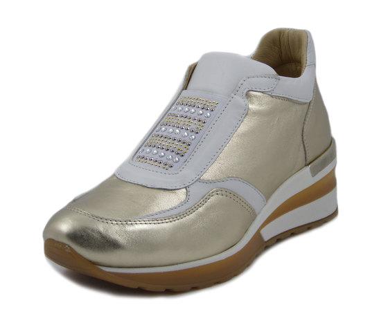 Exton, Sneaker Donna Slipon in Pelle Oro e Bianco, Zeppa Media 5 cm, Made in Italy