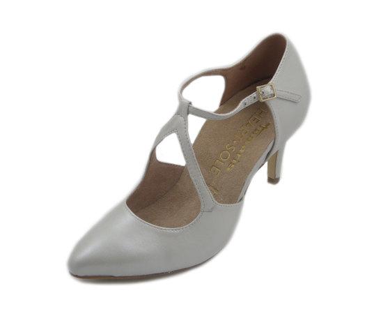 Tamaris, Scarpe Donna Decolletè modello Mary Jane in pelle bianco Perla, Tacco Medio 8 cm, 24402W