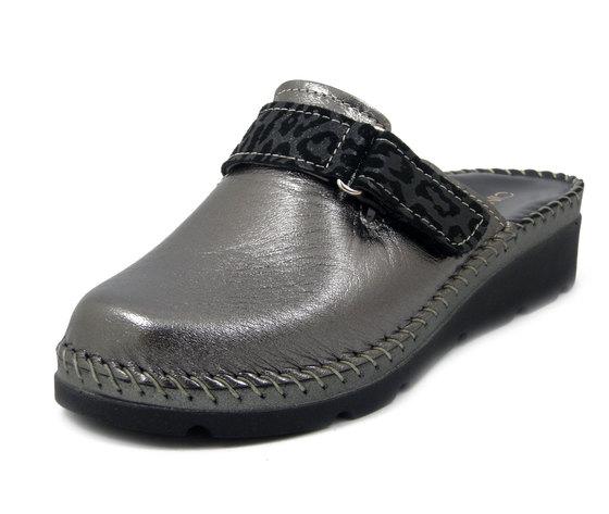 CINZIA SOFT, Pantofola Ciabatte Donna Comfort in Pelle Grigio con Strap, Zeppa Bassa, 50814
