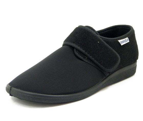 Emanuela, Scarpe Comfort Uomo Pantofole Chiuse in Tessuto Elasticizzato Nero, Chiusura a Strap, 986