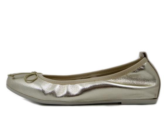 Pregunta, Ballerine Donna in Pelle colore Oro Platino, Zeppa interna 2 cm, 920