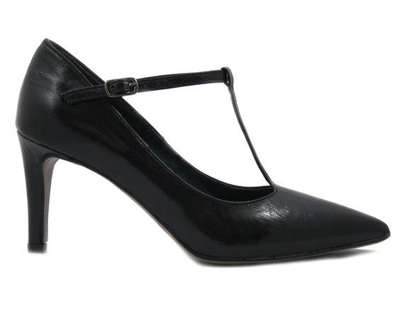 Scarpe Donna Decollete a Punta con cinturino in Eco Pelle Nero, Tacco Medio 7 cm, Mercante di Fiori TT1381