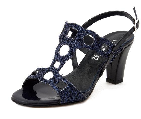 Linea Uno, Sandalo Donna Elegante in Tessuto Glitter Blu, Tacco Medio 8 cm, Made in Italy