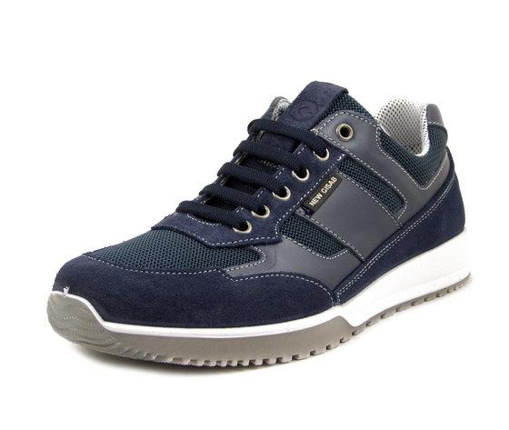New Gisab, Scarpe Uomo Sportive Sneaker in Pelle e Tessuto Blu, Sottopiede Estraibile, 87