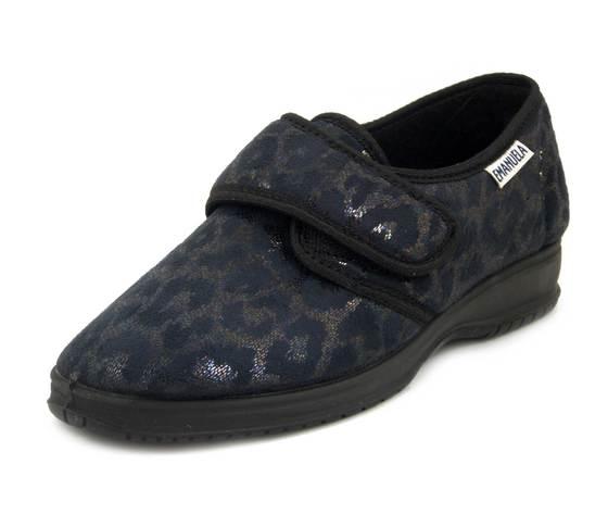 Emanuela, Scarpe Comfort Pantofole Chiuse Donna Invernali in Tessuto Elasticizzato Nero, Chiusura Strap, 2550