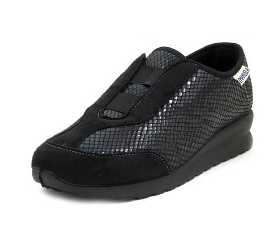 Emanuela, Slipon Sneaker Donna Linea Comfort in Tessuto Nero, Zeppa Bassa Antiscivolo, Pianta Larga, 2805